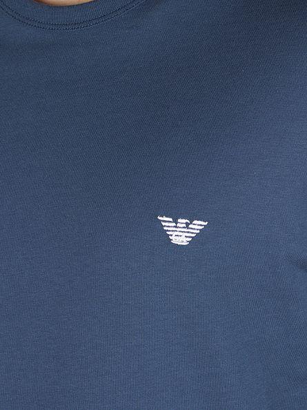 Emporio Armani Light Blue Checked Lining Longsleeved Logo Pyjama Top