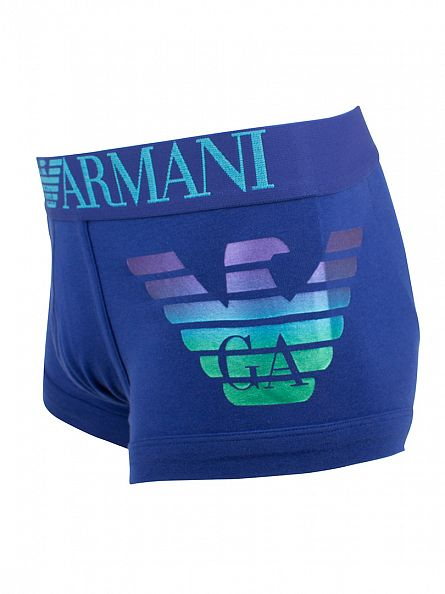 Emporio Armani Electric Blue Logo Waistband Trunks