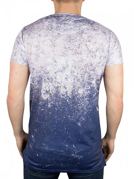 Sik Silk White/Navy Distressed Basic Vent Fade T-Shirt