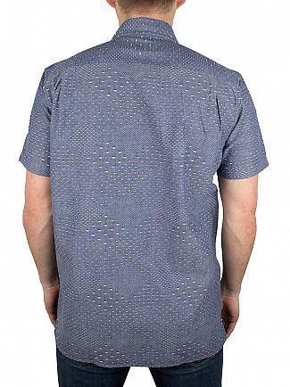Edwin Dobby Blue Nimes Shortsleeved Chambray Dobby Shirt