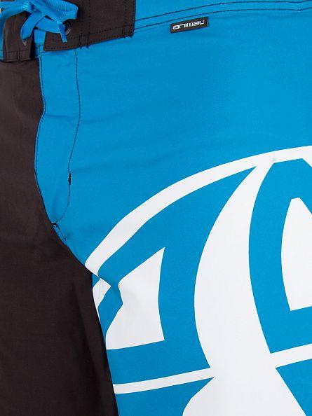 Animal Black/Blue Fixed Waist Half Graphic Board Swim Shorts