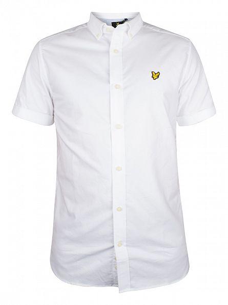 Lyle & Scott White Shortsleeved Button Down Oxford Shirt