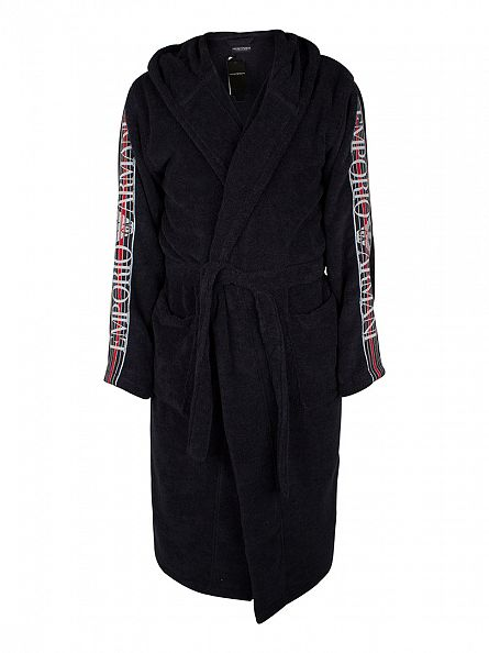 Emporio Armani Marine Sleeves Logo Hooded Bathrobe