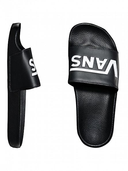 Vans Black Slide-On Logo Flip Flops