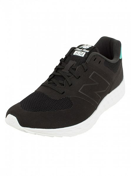 New Balance Black/Green 574 Trainers