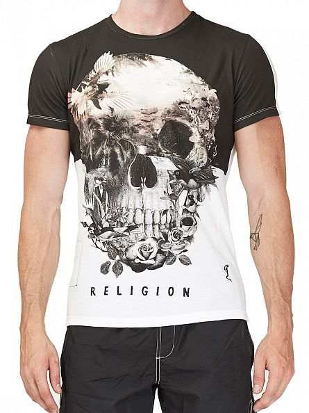 Religion White Skull Illusion Crew Neck T-Shirt