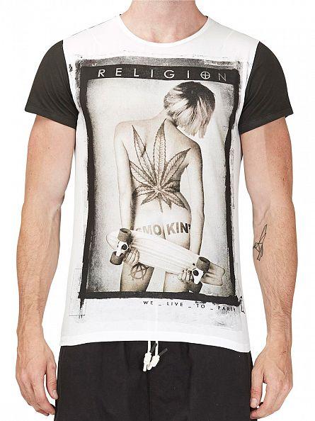 Religion White Smokin Crew Neck T-Shirt