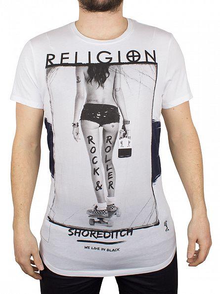 Religion White Rock & Roller Crew Neck T-Shirt