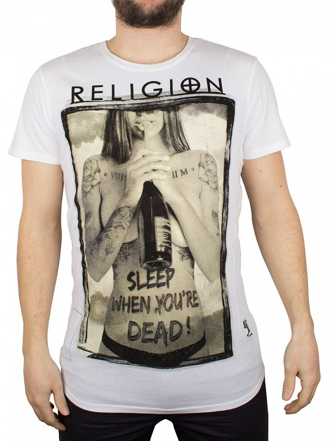 Religion White Sleep When Your Dead Crew Neck T-Shirt