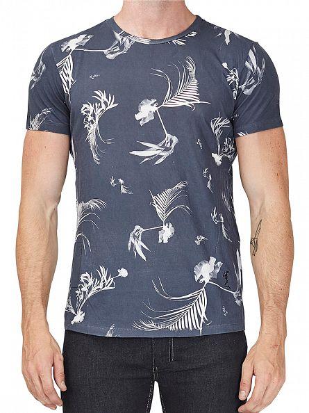 Religion Navy Dark Palm Crew Neck T-Shirt