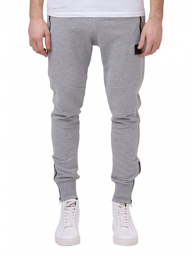 Religion Grey Marl Badge Joggers