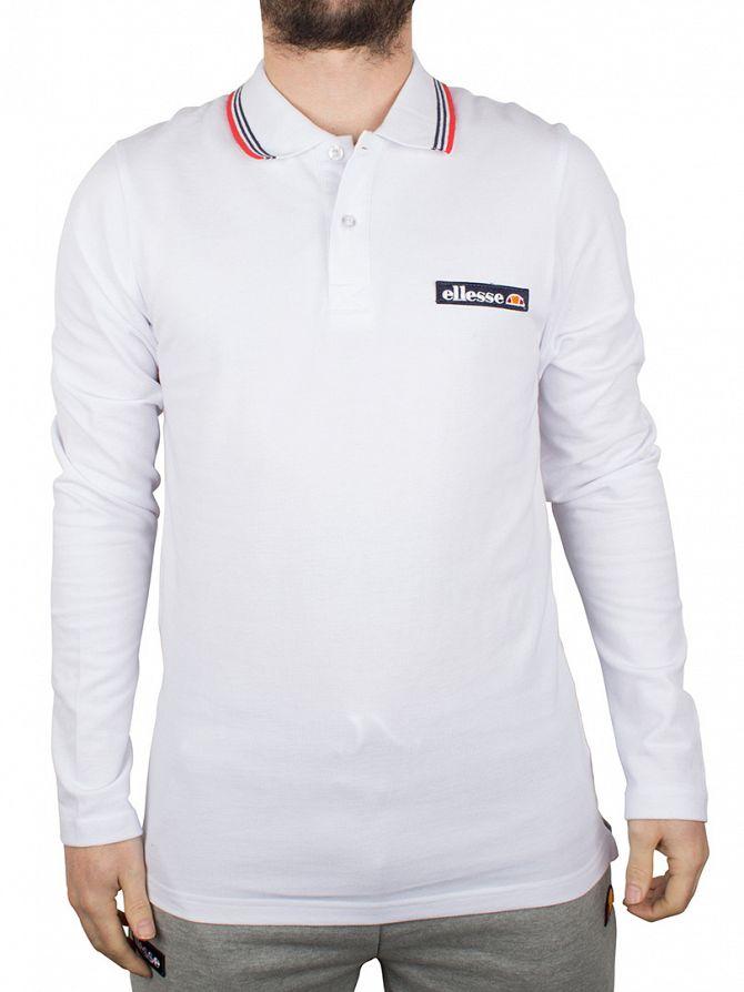 Ellesse Optic White Atrani Longsleeved Polo Shirt