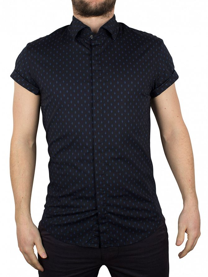Scotch & Soda Navy Shortsleeved Dress Shirt