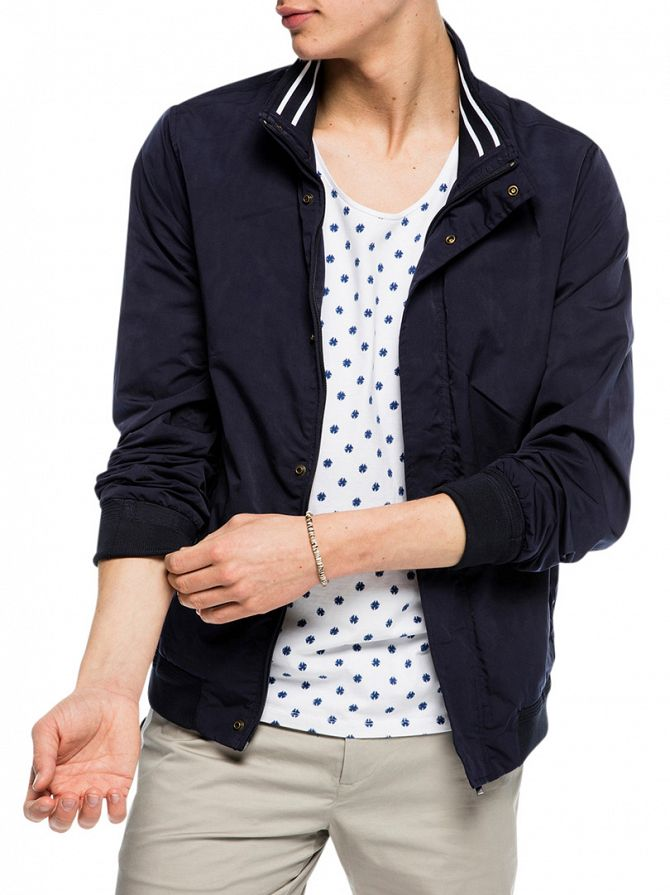 Scotch & Soda Navy Nylon Bomber Jacket