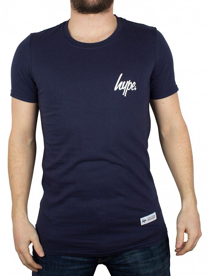 Hype Navy/White Breast Mini Script T-Shirt