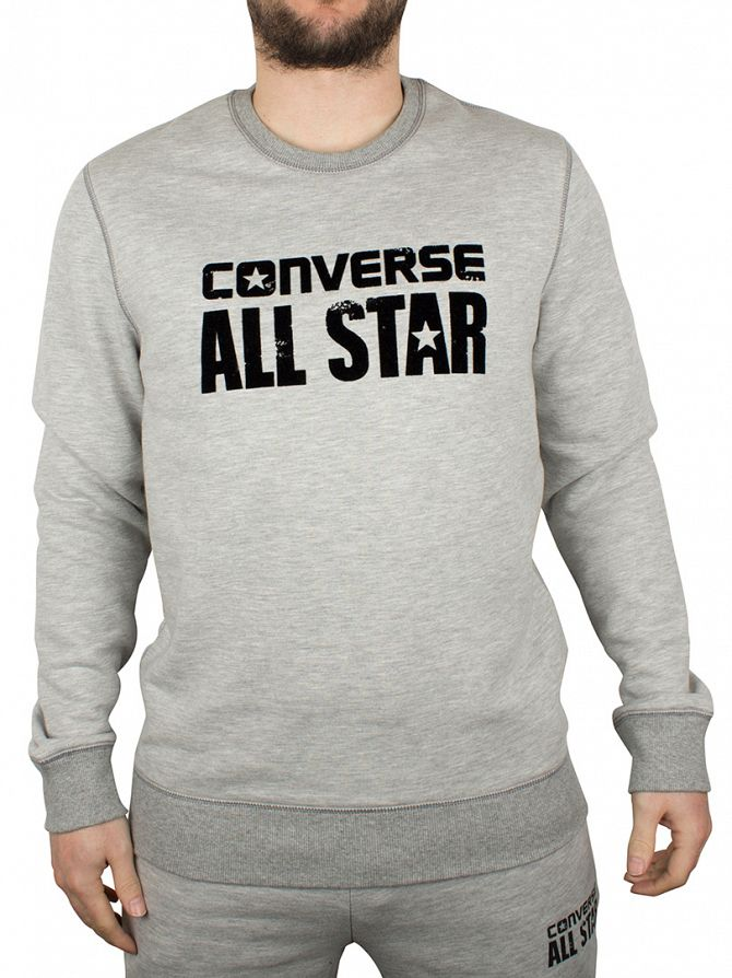 Converse Light Grey Marl Worn All Star Logo Sweatshirt