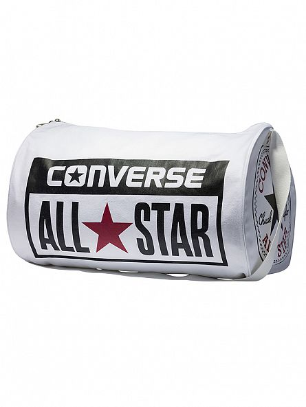 Converse White Barrel Holdall Logo Bag