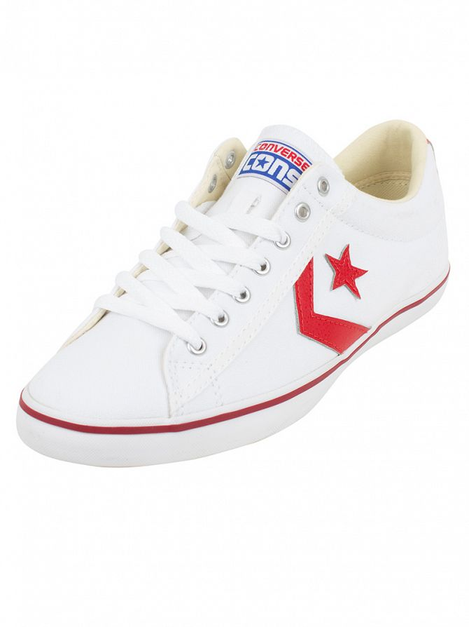Converse White/Casino/Blue Star Player LP OX Trainers