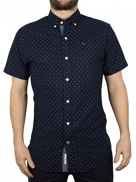 Hilfiger Denim Navy Blazer Poplin Printed Shortsleeved Button Down Shirt