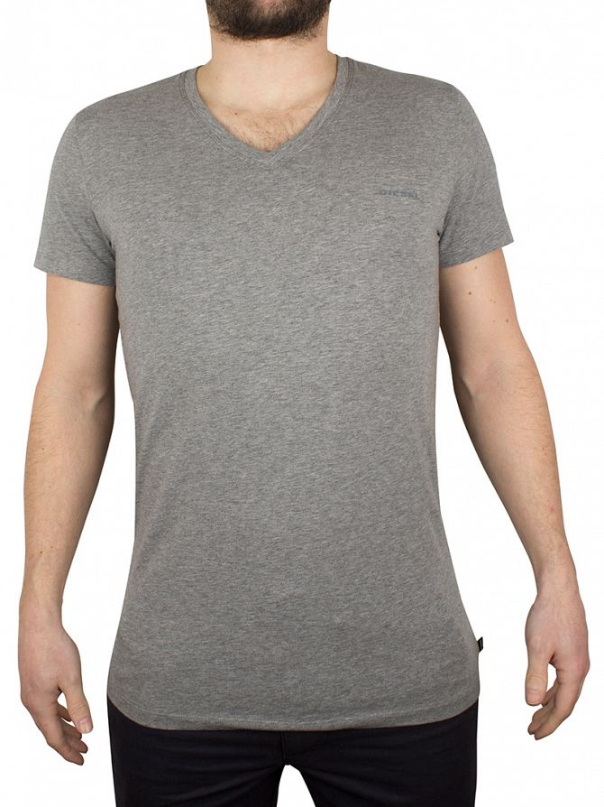 Diesel Light Grey Marl V-Neck Marled Logo T-Shirt