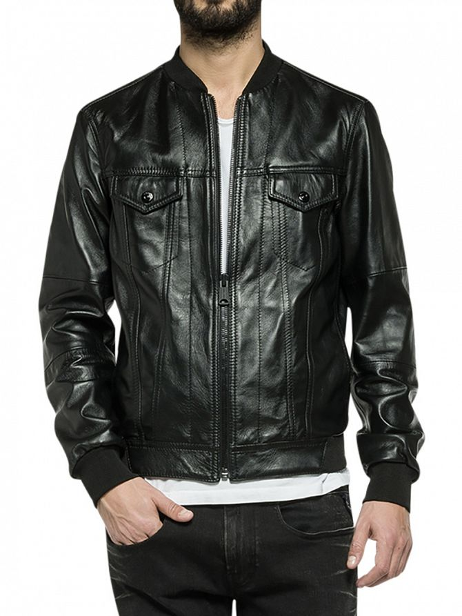 Replay Black Leather Jacket
