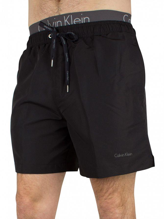 Calvin Klein Black Waistband Medium Drawstring Logo Swimshorts
