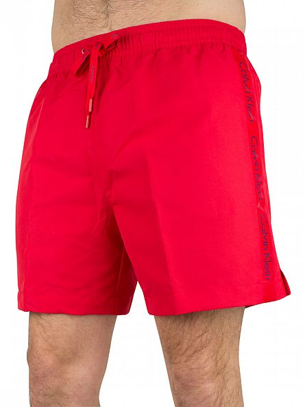 Calvin Klein Chinese Red /Royal Blue Medium Drawstring Logo Swimshorts