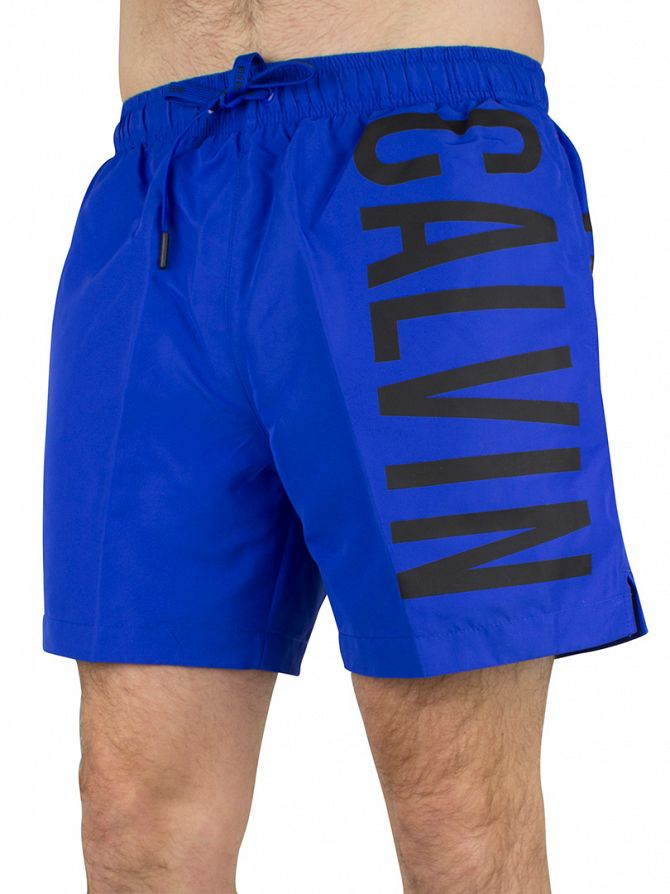 Calvin Klein Royal Blue/Black Vertical Logo Medium Drawstring Swimshorts