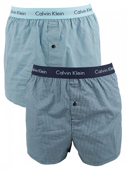 Calvin Klein Check Blue Shadow 2 Pack Slim Fit Woven Trunks
