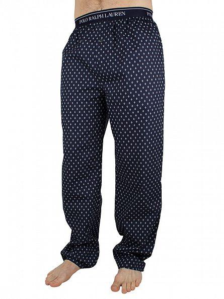 Polo Ralph Lauren Cruise Navy/Nevis Stars Logo Waistband All Over Diamond Print Pyjama Bottoms