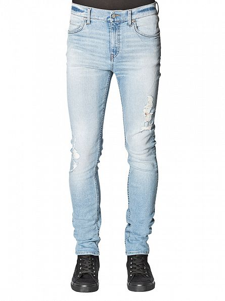 Cheap Monday Brilliant Blue Tight Slim Fit Worn Look Jeans