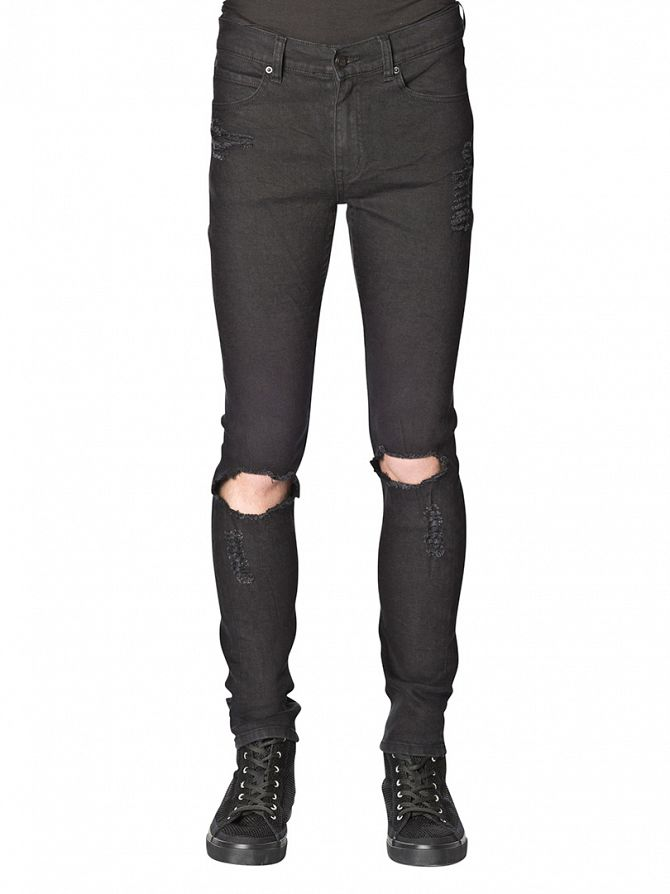 Cheap Monday Destroy Black Tight Slim Fit Worn Look Jeans