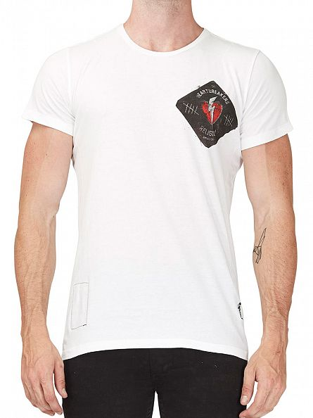 Religion White Heart Breaker Left Chest Logo T-Shirt