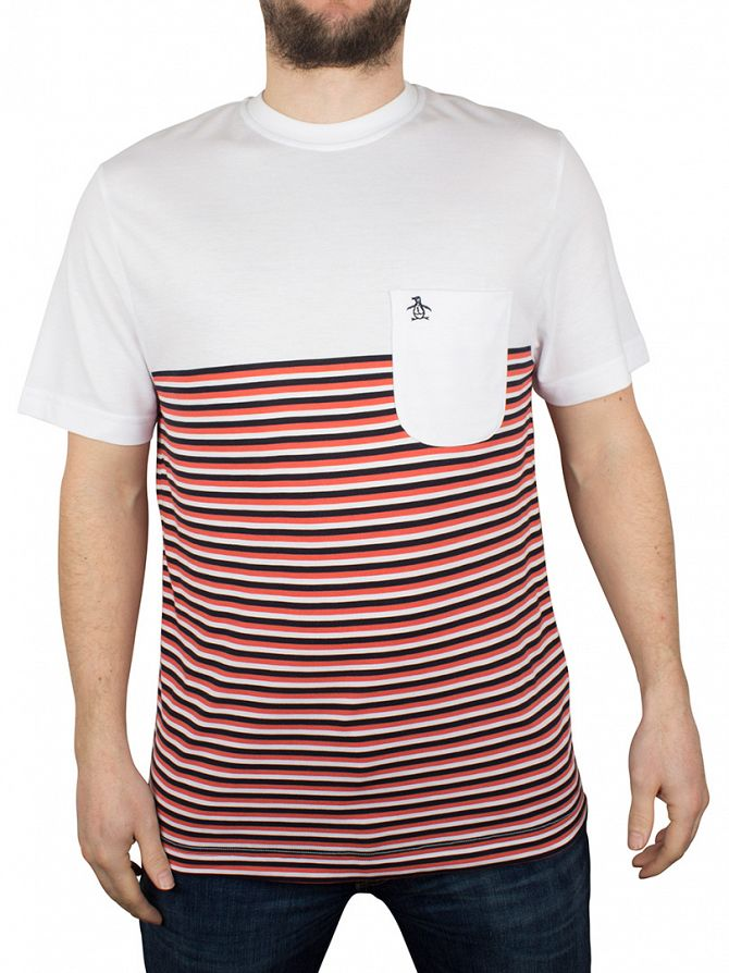 Original Penguin White Striped Ryda Panel Pocket Logo T-Shirt