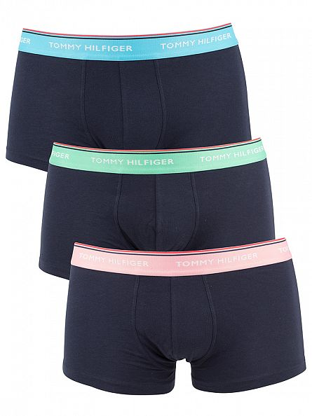 Tommy Hilfiger River Blue/Jade Cream/Sea Pink 3 Pack Premium Essentials Low Rise Trunks