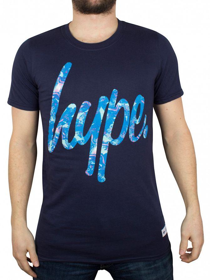 Hype Navy Paint Garden Script Logo T-Shirt