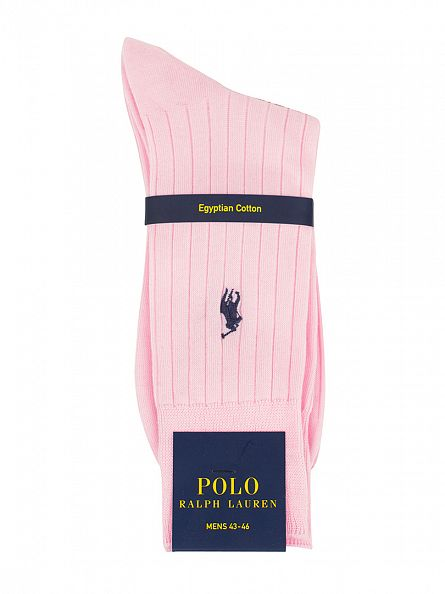 Polo Ralph Lauren Palrs Pink Egyptian Cotton Logo Ribbed Socks