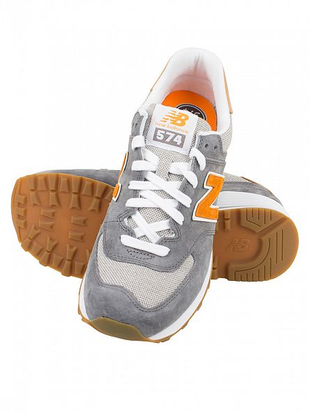 New Balance Grey/Apricot 574 Trainers