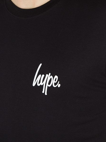 Hype Black/White Breast Mini Script T-Shirt