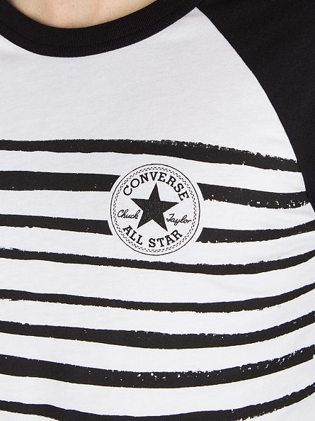 Converse White/Black Striped Raglan Logo T-Shirt