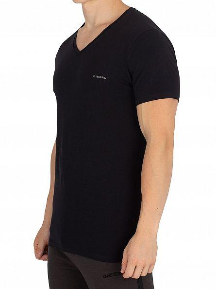 Diesel Black V-Neck Logo T-Shirt