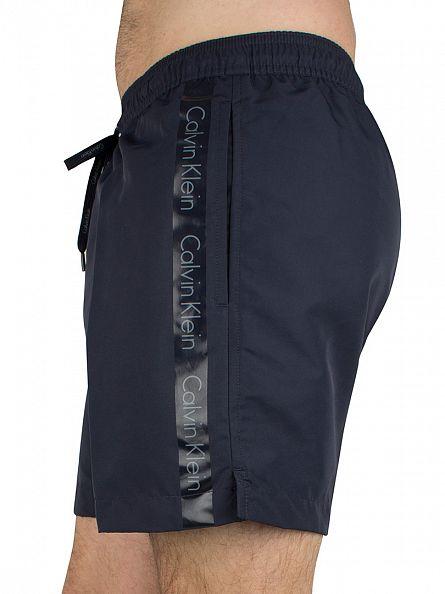 Calvin Klein Navy/Grey Medium Drawstring Logo Swimshorts