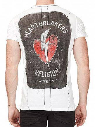 Religion White Heart Breaker Left Chest Logo T-Shirt