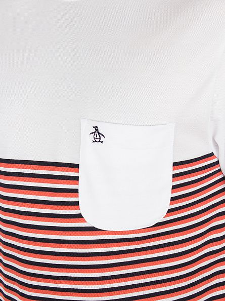 Original Penguin White Striped Ryda Panel Pocket Logo T-Shirt