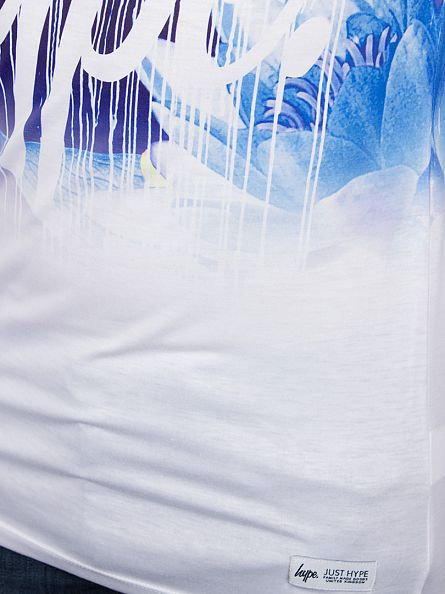 Hype White/Blue Floral Drips Fade T-Shirt