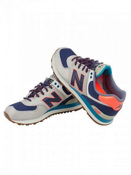 New Balance Stone Grey/Sailor Blue 574 Trainers