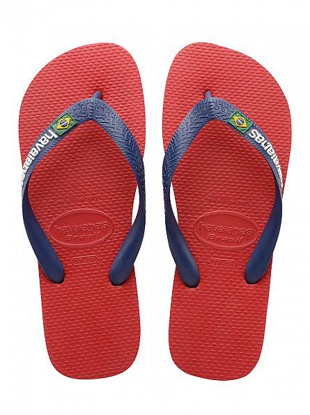 Havaianas Red Brasil Logo Flip Flops
