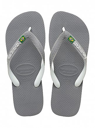 Havaianas Steel Grey/White Brasil Mix Flip Flops