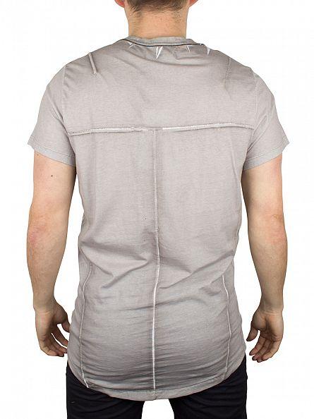 Religion Light Grey Block Curved Hem T-Shirt
