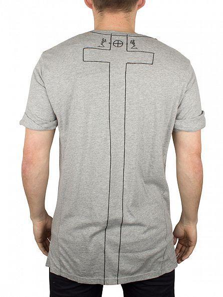 Religion Grey Marl Shaded Crew Neck T-Shirt